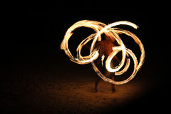 Fire play on the beach Royalty Free Stock Photography