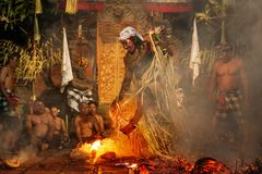 Fire play Kecak fire Dance performance in temple Bali, Indonesia Stock Photography