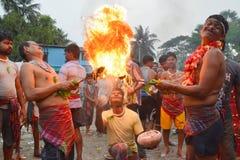 Fire play a ritual during gajon festival celebration
