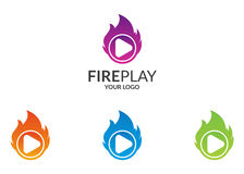 Fire player logo. Logo suitable for businesses and product names. Easy to edit, change size, color and text Stock Image