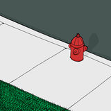 Fire Plug on Sidewalk. Background cartoon of fire hydrant near street on sidewalk Stock Photo