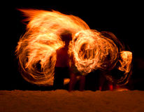 Fire Poi on the beach Stock Photography