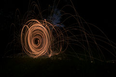 Fire Poi, Flaming Steel Wool Spinning Royalty Free Stock Photo