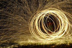 Fire Poi, Flaming Steel Wool Spinning. Spinning Steel Wool, Fire Poi Royalty Free Stock Photography