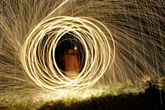 Fire Poi, Flaming Steel Wool Spinning. Spinning Steel Wool, Fire Poi Stock Image