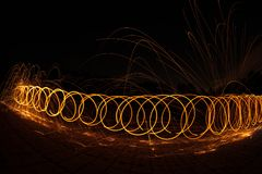 Fire Poi / Spinning Steel Wool Royalty Free Stock Photography