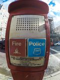 Fire and Police buttons. Fire and Police emergency buttons in New York Stock Photo