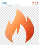 Fire polygonal symbol. Amazing mosaic style symbol. resplendent low poly style. Modern design. fire icon for infographics or presentation Royalty Free Stock Photography