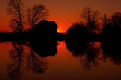 Fire on the pond Royalty Free Stock Image