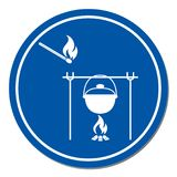 Fire and pot icon. Vector illustration Stock Images