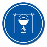 Fire and pot icon. Vector illustration Stock Image