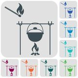 Fire and pot icon. Vector illustration Royalty Free Stock Photo