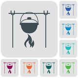 Fire and pot icon. Vector illustration Stock Photos