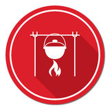 Fire and pot icon. Vector illustration Royalty Free Stock Photography