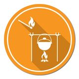 Fire and pot icon Royalty Free Stock Photography