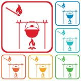 Fire and pot icon Royalty Free Stock Images