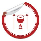 Fire and pot icon. Vector illustration Royalty Free Stock Photos