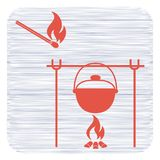 Fire and pot icon. Vector illustration Stock Photography