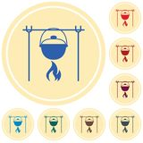 Fire and pot icon. Vector illustration Royalty Free Stock Image
