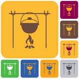 Fire and pot icon. Vector illustration Royalty Free Stock Images