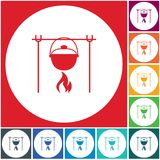 Fire and pot icon. Vector illustration Stock Photo