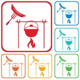 Fire, pot and sausage icon. Vector illustration Stock Images