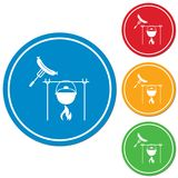 Fire, pot and sausage icon. Vector illustration Royalty Free Stock Photography