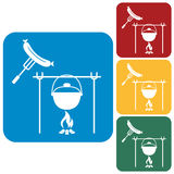 Fire, pot and sausage icon Stock Photos