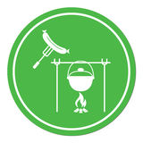 Fire, pot and sausage icon. Vector illustration Stock Image