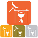 Fire, pot and sausage icon Royalty Free Stock Photos