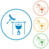 Fire, pot and sausage icon Stock Photography