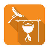 Fire, pot and sausage icon Stock Images
