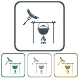 Fire, pot and sausage icon Royalty Free Stock Photo