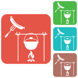 Fire, pot and sausage icon. Vector illustration Royalty Free Stock Image