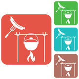 Fire, pot and sausage icon Stock Image