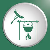 Fire, pot and sausage icon. Vector illustration Royalty Free Stock Photo