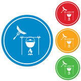 Fire, pot and sausage icon. Vector illustration Stock Photo