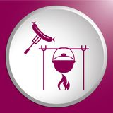 Fire, pot and sausage icon. Vector illustration Royalty Free Stock Images