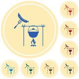 Fire, pot and sausage icon. Vector illustration Stock Photos