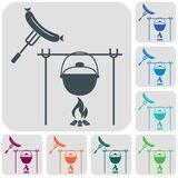 Fire, pot and sausage icon. Vector illustration Royalty Free Stock Photos