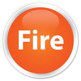 Fire premium orange round button. Fire isolated on premium orange round button abstract illustration Royalty Free Stock Images