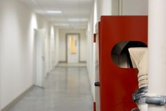 Fire-prevention device. Fire-prevention equipment in office corridor Royalty Free Stock Image