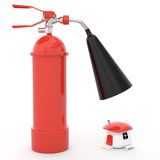 Fire prevention protection, 3D. Fire-prevention protection of house, 3D Stock Photo