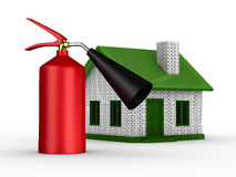 Fire-prevention protection of house. Isolated 3D image Stock Image