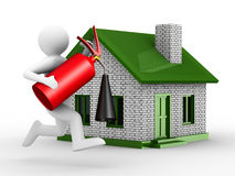 Fire-prevention protection of house Stock Photo