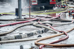 Fire-prevention siphon or gate a tee and hoses for water are connected after firefight Stock Images