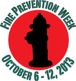 Fire Prevention Week 2013. Round graphic for Fire Prevention Week, October 6-12, 2013 Stock Photo