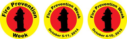 Fire Prevention Week Graphics. Three versions of Fire Prevention Week with generic, 2014 and 2015 dates Royalty Free Stock Images