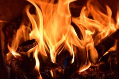 The fire produced by firewood Stock Images