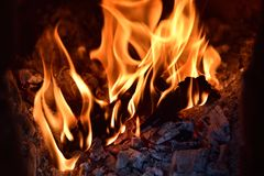 The fire produced by firewood Stock Image